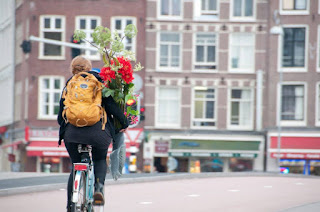 Cycling in the city of Amsterdam