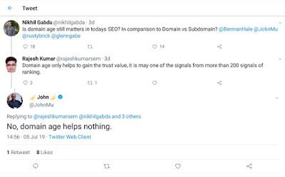 usia domain tidak penting bagi SEO