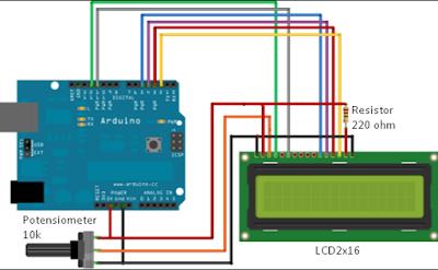 Rangkaian LCD 2x16 Dengan Board Arduino