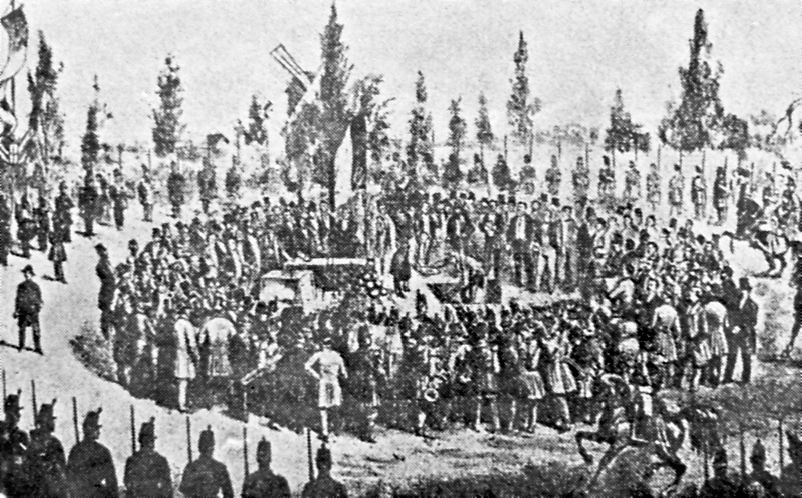 Monument de la Bataille de Tourcoing - Début des travaux en 1863.