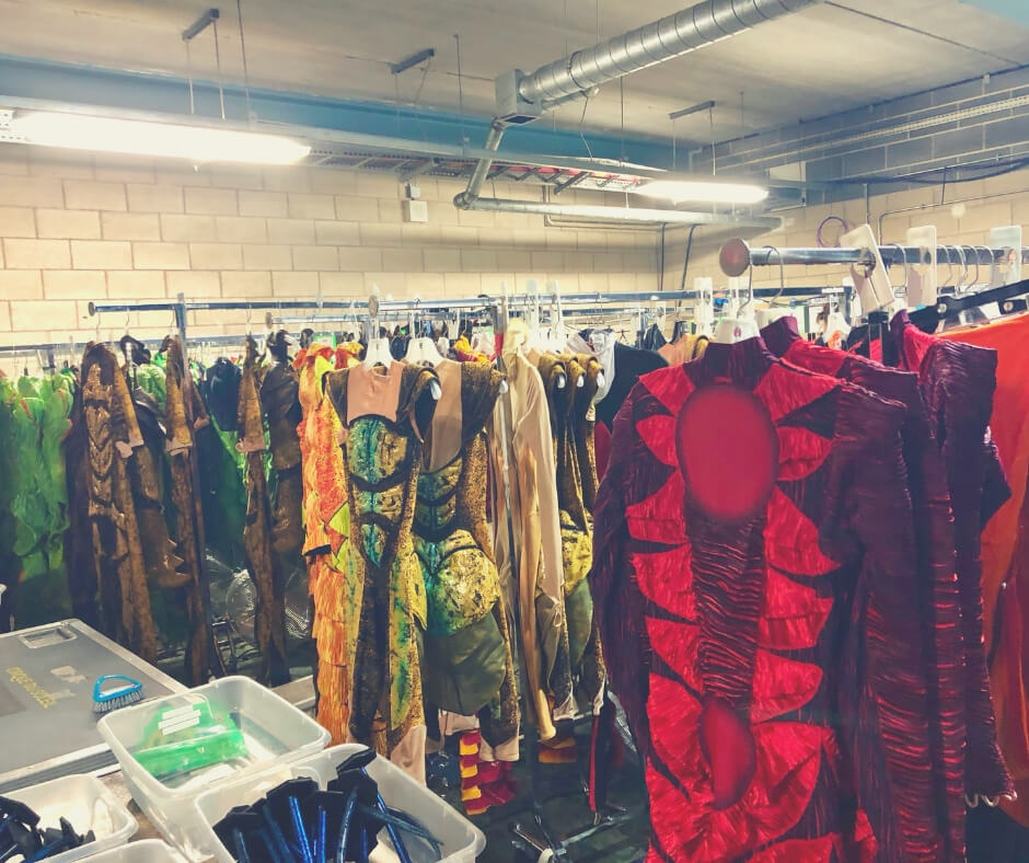 Costumes from Cirque Du Soleil OVO hang on clothes rails before the show.