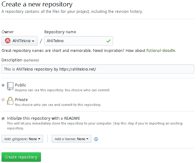 Create new repository in GitHub