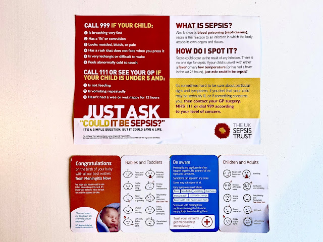 A photo of charity leaflets in the Newborn bounty pack giving advice on how to identify Sepside and Meningitis
