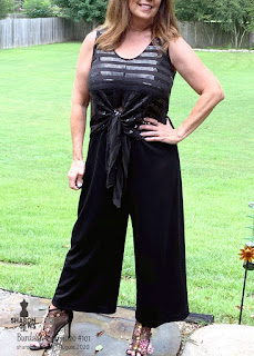 BurdaStyle 06-2020 #101 Jumpsuit Black Sequin and Knit worn by Sharon Sews
