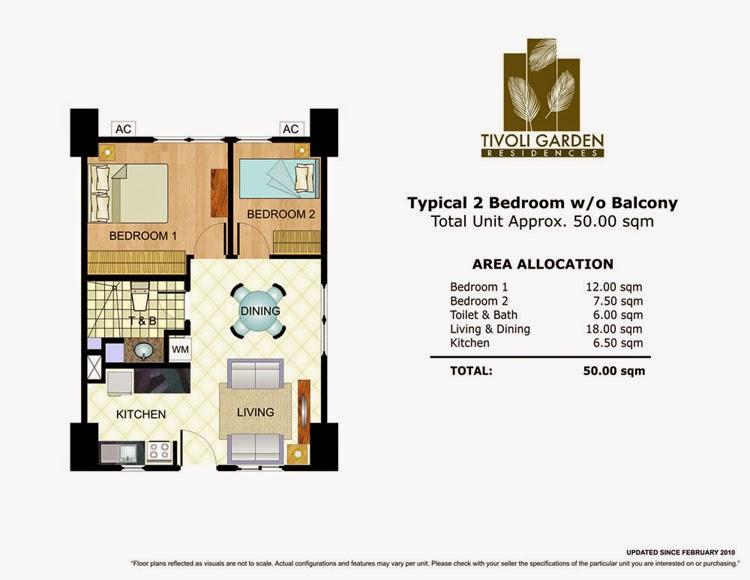 Tivoli Garden Residences 2 Bedroom Unit 50.00 sqm