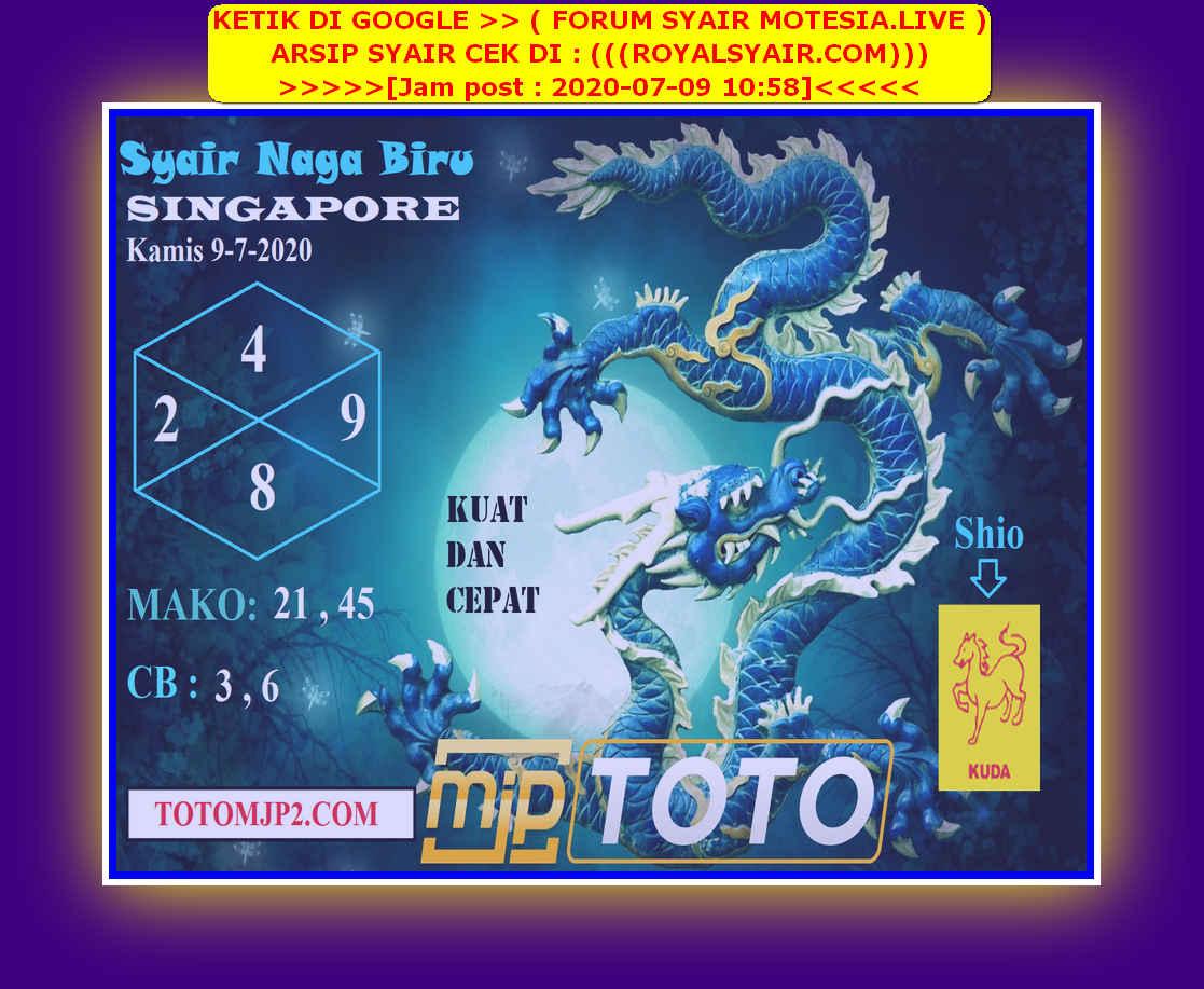 Kode syair Singapore Kamis 9 Juli 2020 97