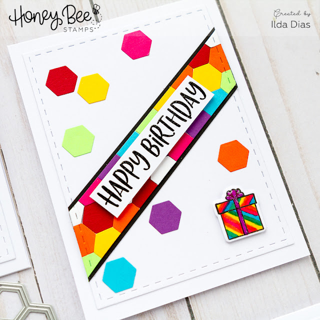 Honey Bee Stamps Cheerful Card Set - Using Hexagon Scraps by ilovedoingallthingscrafty