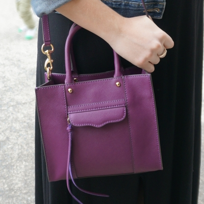 AwayFromTheBlue | Rebecca Minkoff mini MAB tote in plum spring black maxi dress outfit