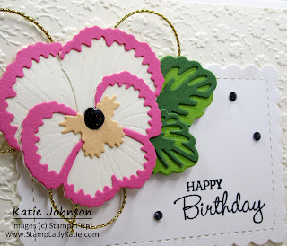 Elegant, formal looking card made with Stampin'Up! Pansy Dies, Ornate Floral embossed vanilla card face and gold cording
