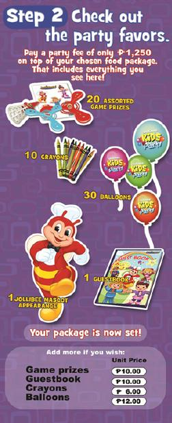 Jollibee Party package - step 2