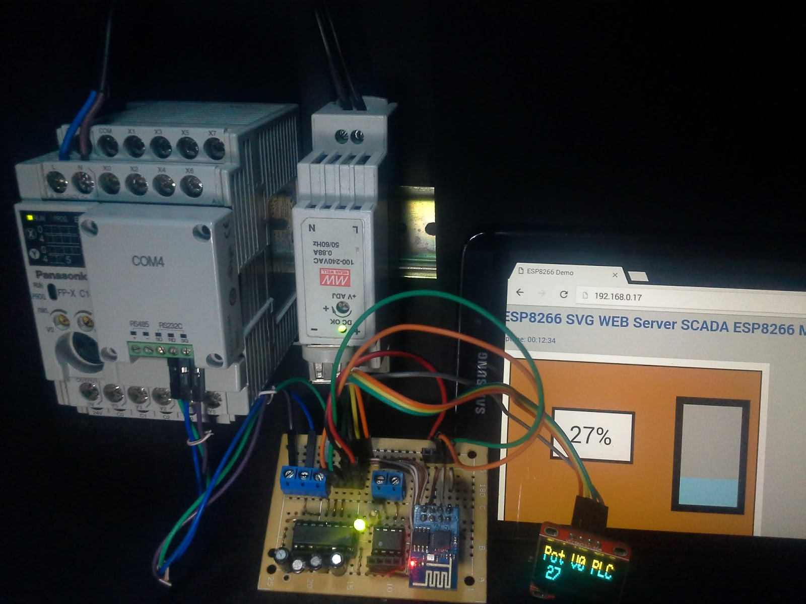 Esp8266 Scada Svg Modbus Rtu Display Oled Plc Panasonic Fpx C14r Wiring Potentiometer To With Previously Programmed Strategy In Control Fpwin His Pro Software It Is Planned Create A Monitoring Solution Concerning