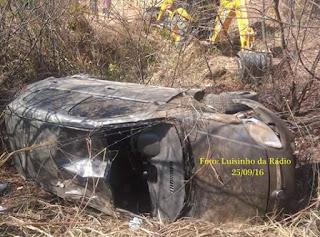 Itapajé: Motorista capota carro nas proximidades do Açude Ipúzinho