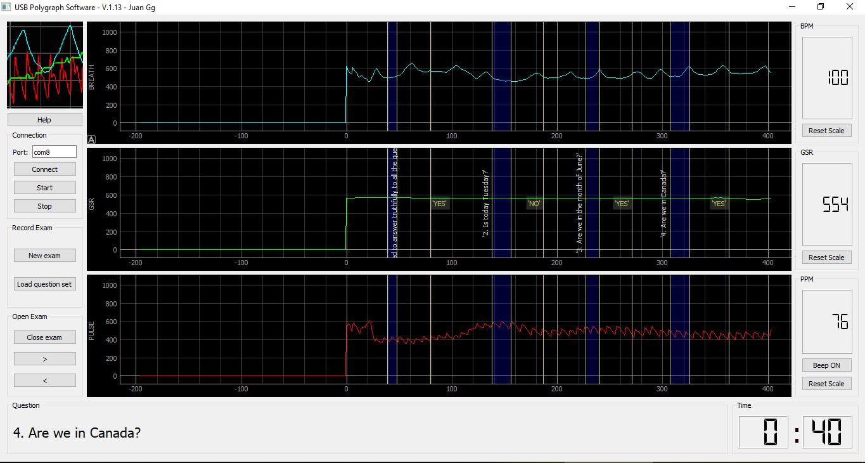Скриншот программы полиграфа на Arduino