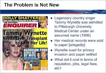 Tabloid headline based on stolen medical data about the singer Tammy Wynette
