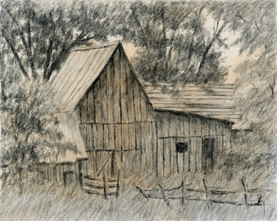charcoal sketch spring city utah barn rural