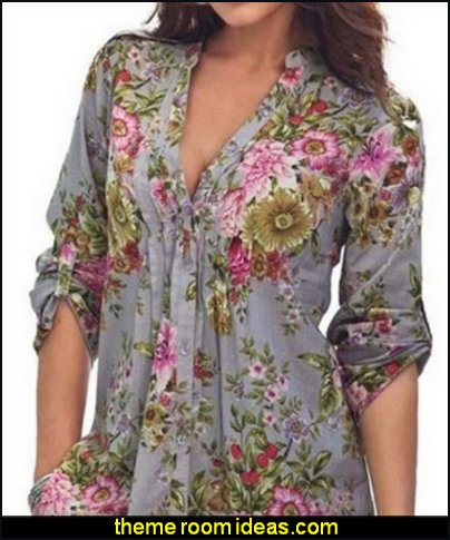 FLORAL BLOUSE Plain Floral Hawaiian Shirt Women's Blouse womens clothing womens tops