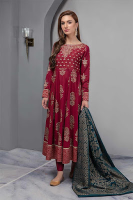 Maria B Embroidered Long Maroon Color Dress