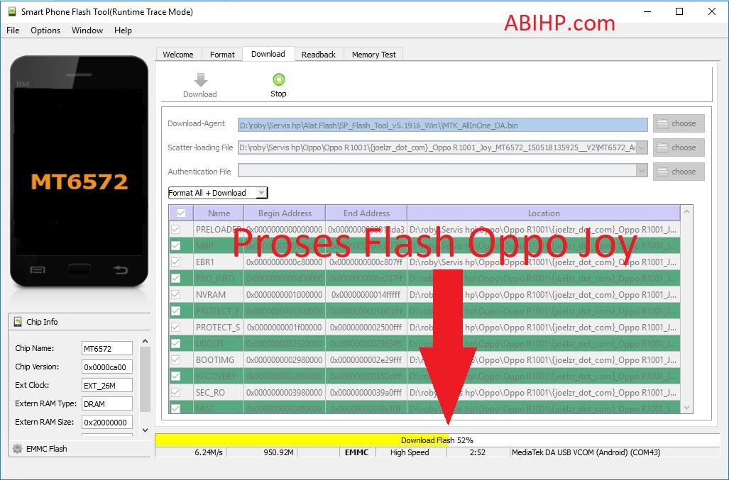 Proses Flash Oppo Joy