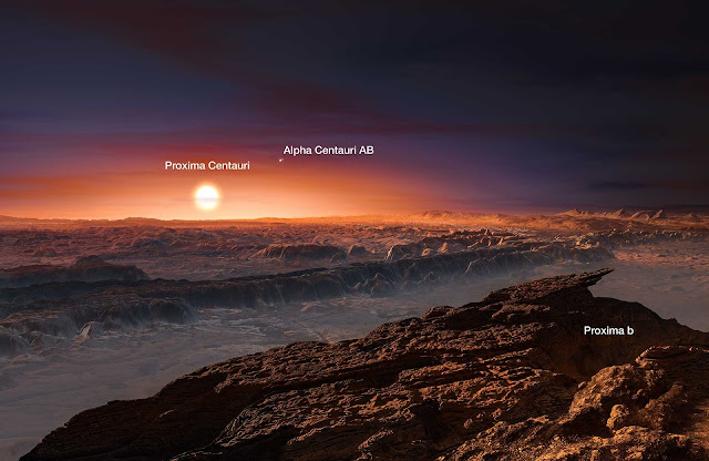 Artist's Impression on proxima centauri b