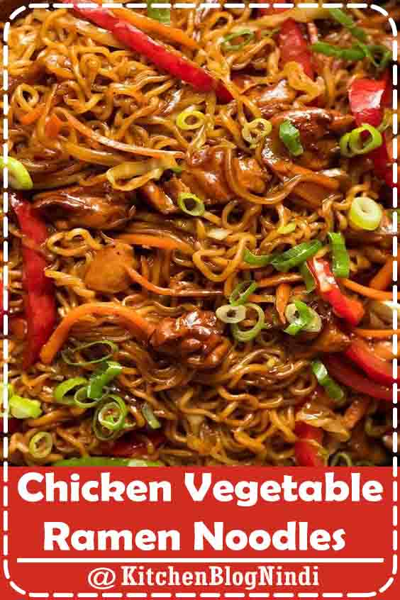 4.9★★★★★ | Recipe Foto above. A great quick Asian ramen noodle recipe that's jam packed with a surprising amount of vegetables! Caramelise the chicken well - makes all the difference. Switch veg as desired. Also see the ground beef / mince version - Asian Beef Ramen Noodles. #Chicken #Vegetable #RamenNoodles
