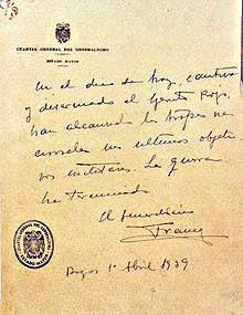 Comunicado emitido por el Cuartel General de Franco anunciando el fin de la guerra