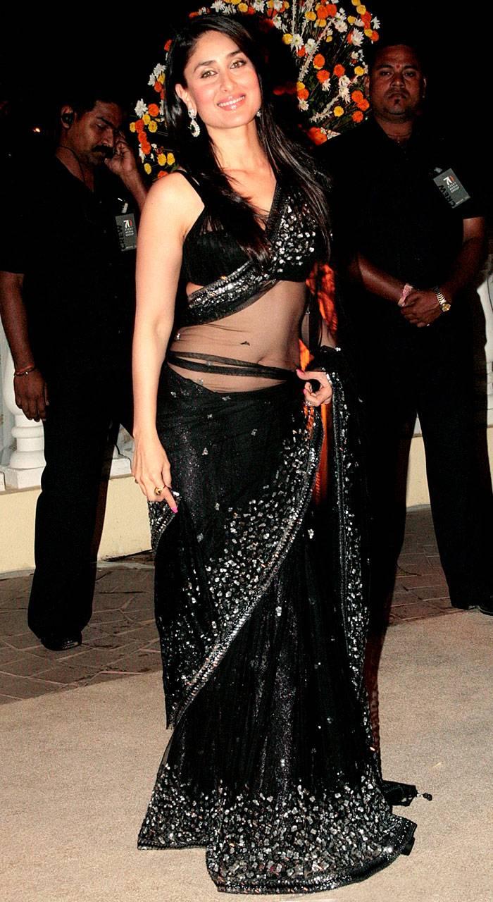 In Saree Tamanna In Himmatwala: Bollywood Actress Kareena Kapoor Black Transparent Saree