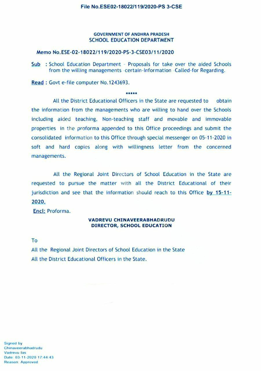 proposals for take over the aided schools from the willing managements