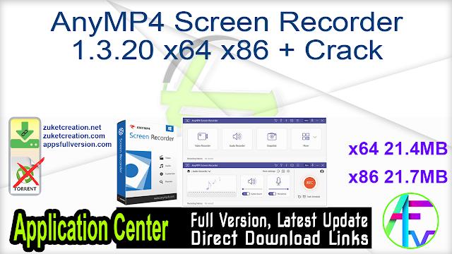 AnyMP4 Screen Recorder 1.3.20 x64 x86 + Crack