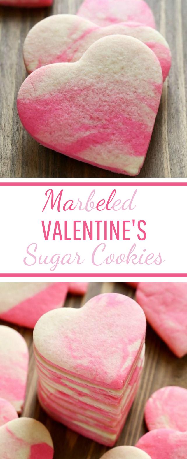 Marbled Valentine Sugar Cookies #dessert #cookies