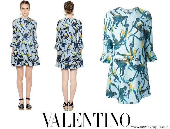 Crown Princess Mette Marit wore Valentino Monkey Printed Silk Twill Dress