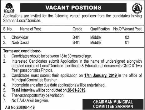 middle pass jobs 2019 newpakjobs