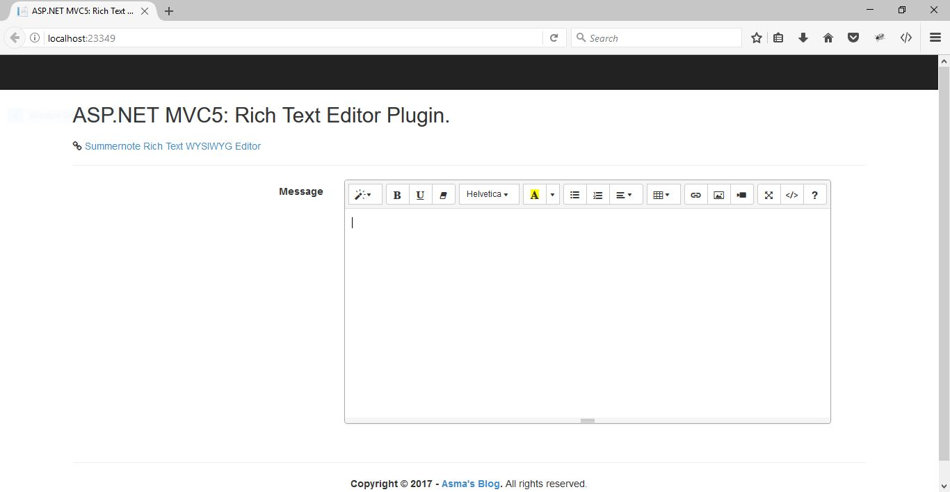 ASP NET MVC5: Rich Text (WYSIWYG) Editor - Asma's Blog