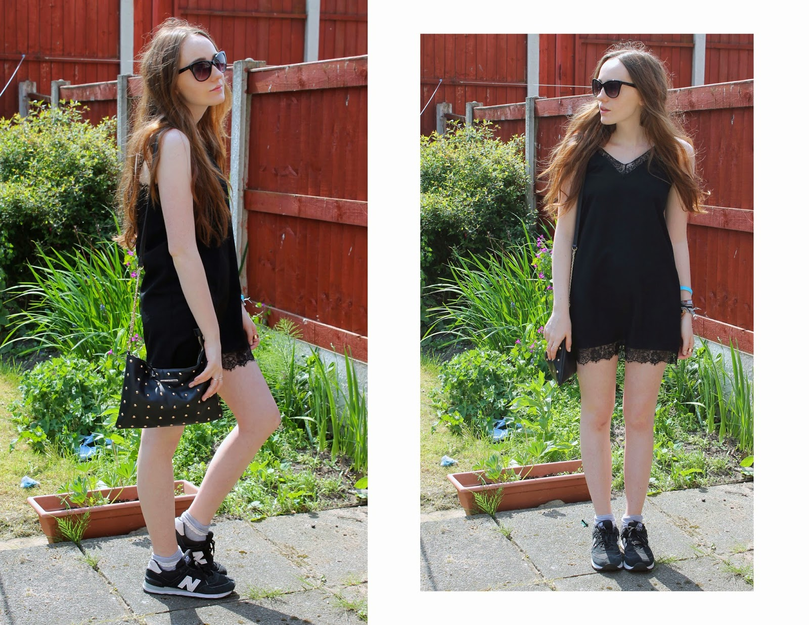 black cat eye sunglasses, asos slip dress, river island cross body bag, new balance 574 trainers, wearing slip dress with trainers