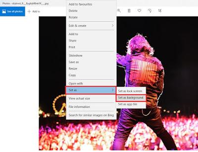 Jika sudah klik kanan pada gambar. Klik Set As lalu klik Set As Background.