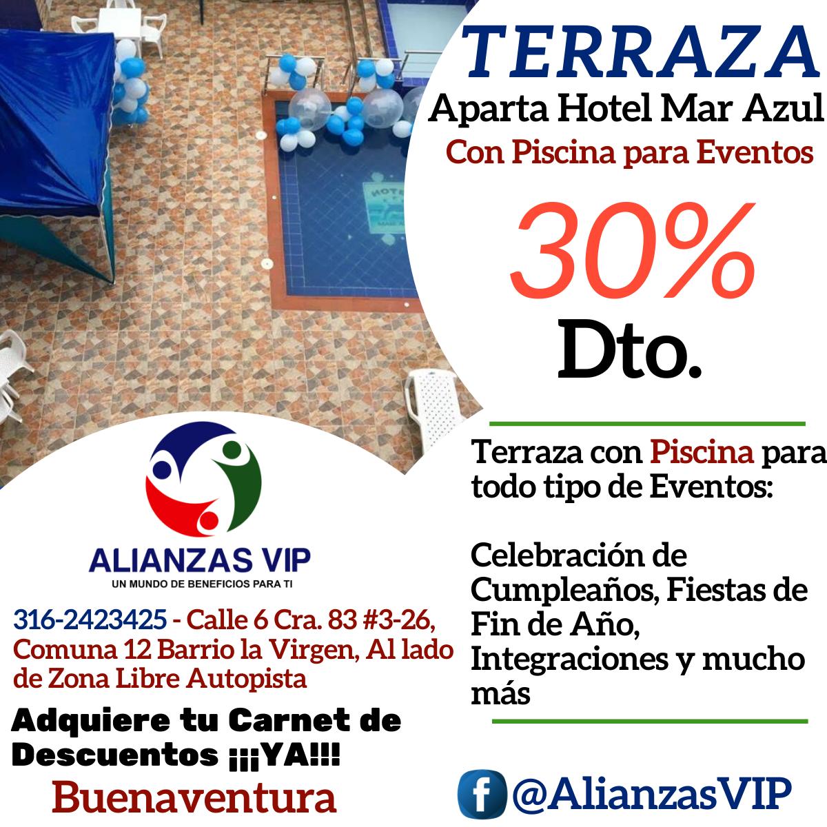 Terraza Aparta Hotel Mar Azul Un 30 Dto