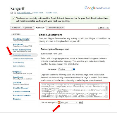 "4. Selanjutnya, pilih ""Subscription Management"". Pilih widget untuk Blogger. Lalu, Copy scriptnya untuk dipasang pada widget blog anda."