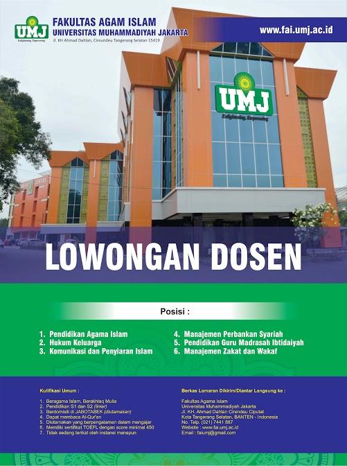 lowongan dosen pendidikan agama islam universitas muhammadiyah jakarta umj