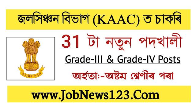 Irrigation Department, KAAC Recruitment  2021: