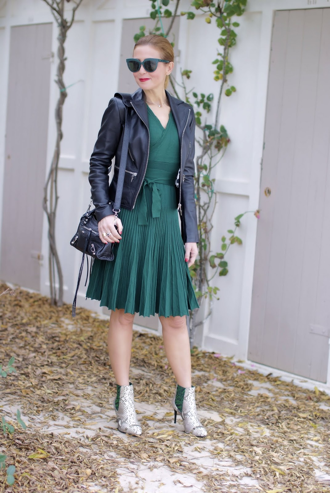 How to wear a wrap neckline dress on Fashion and Cookies fashion blog, fashion blogger style