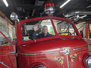 Rep Jeff Roy tries out the 'air conditioned' front seat