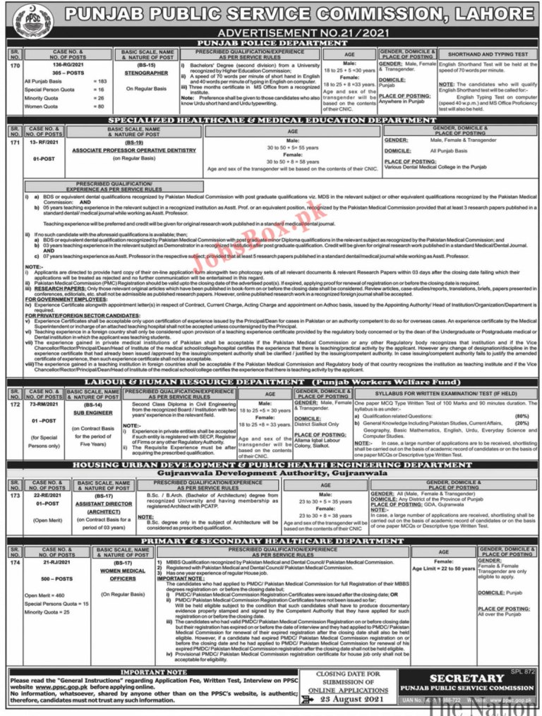 PPSC Punjab Punjab Police Jobs 2021 – PPSC Stenographers Jobs – Ppsc.gop.pk