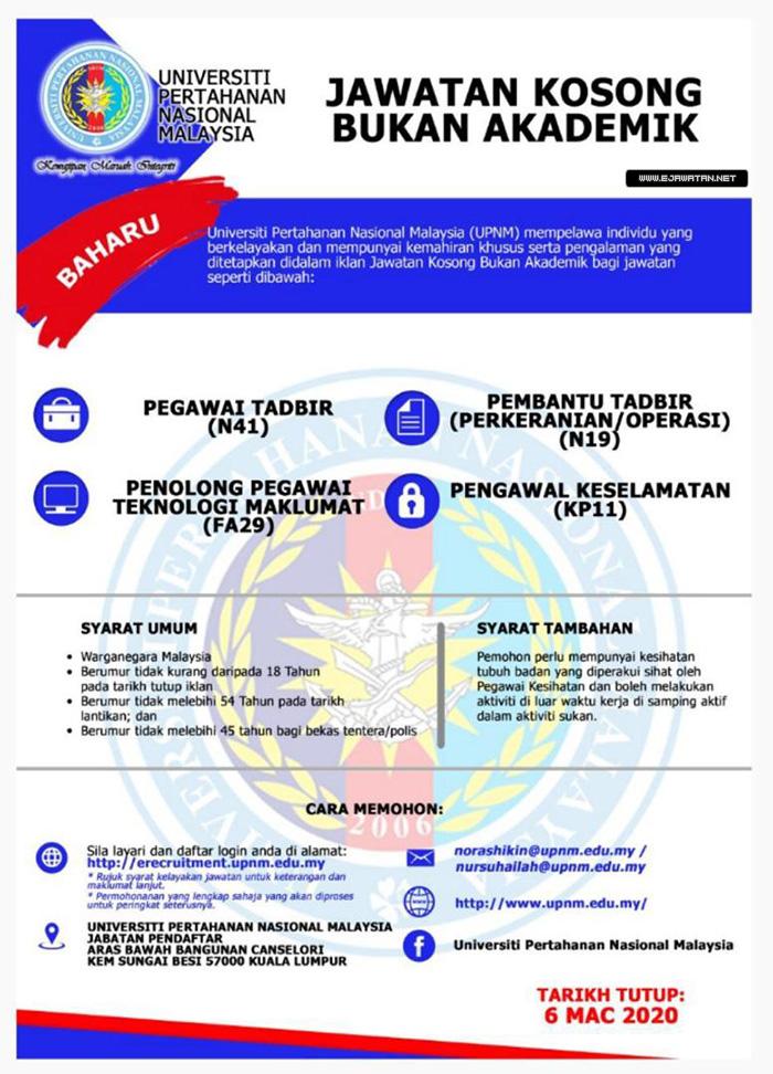 Jawatan Kosong di Universiti Pertahanan Nasional Malaysia ...