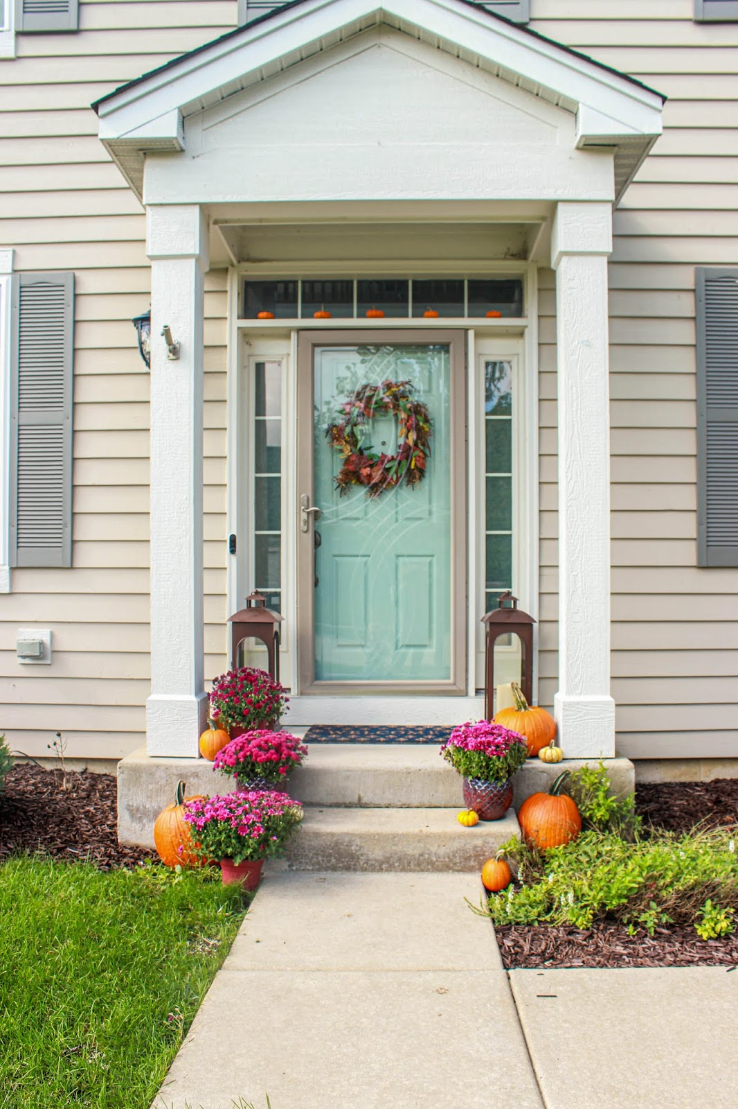 porch mums and pumpkin ideas