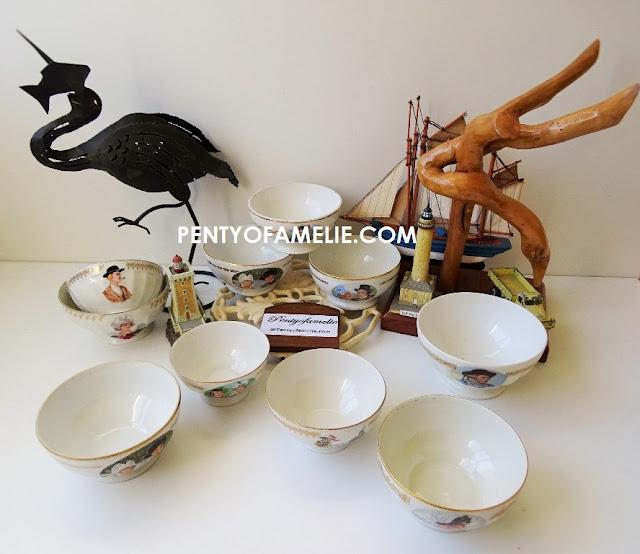 french retro breton figures porcelain cafe au lait bowls coffee set
