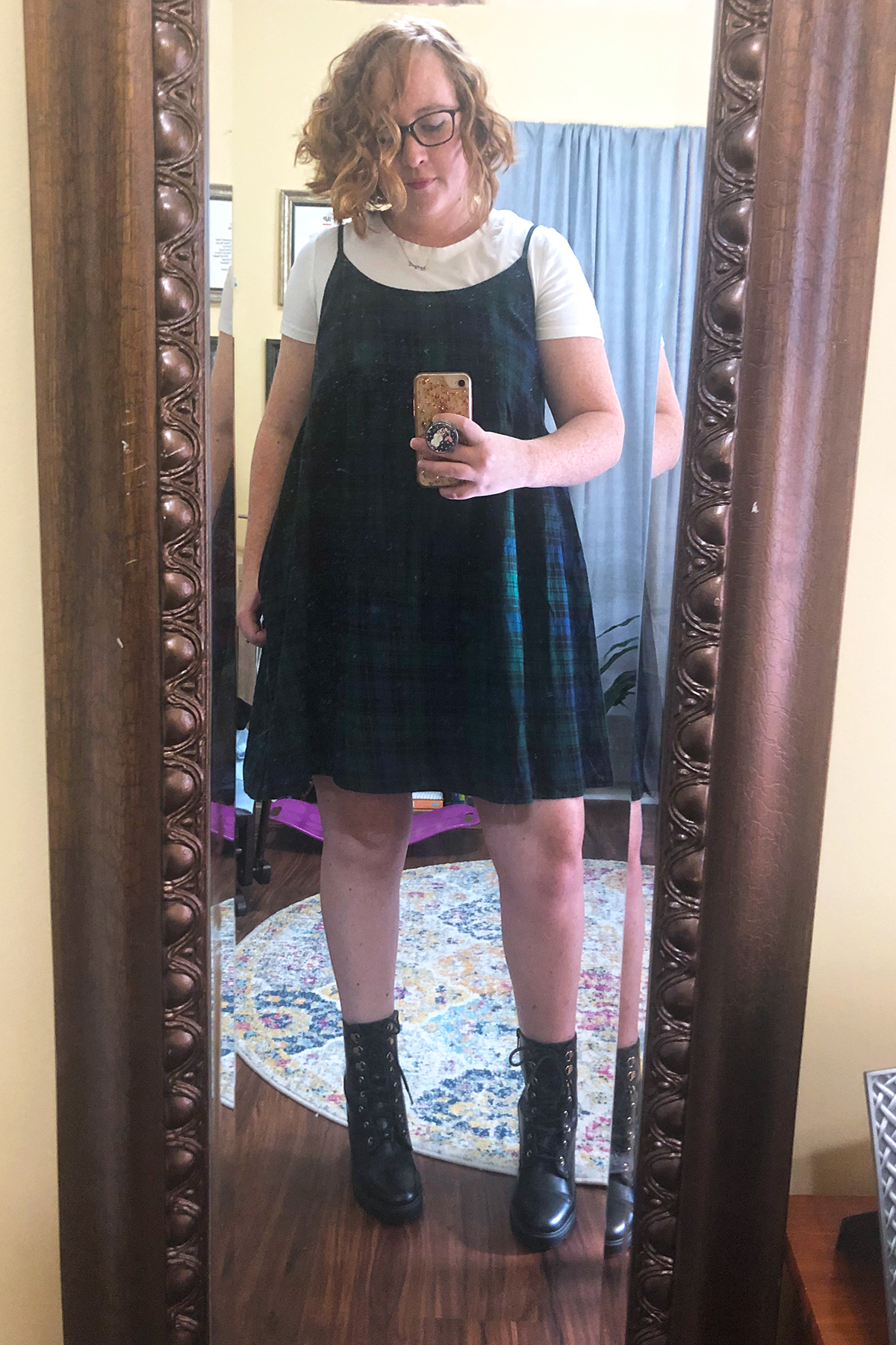 green plaid dress combat boots