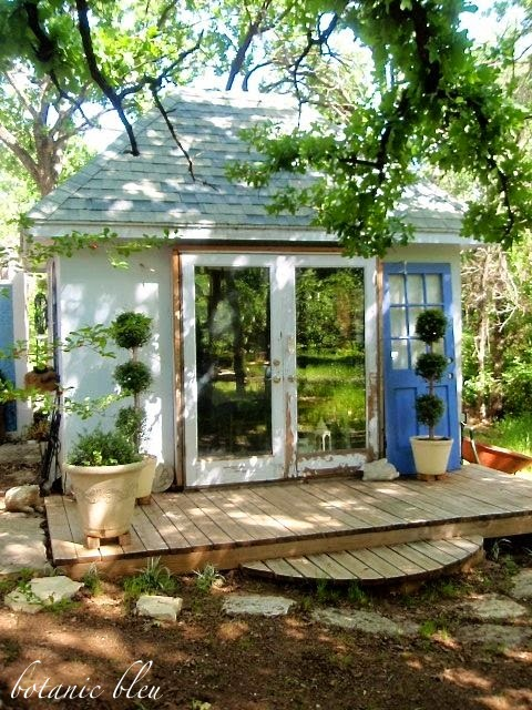 Botanic bleu french garden shed elements for Garden shed 4 u