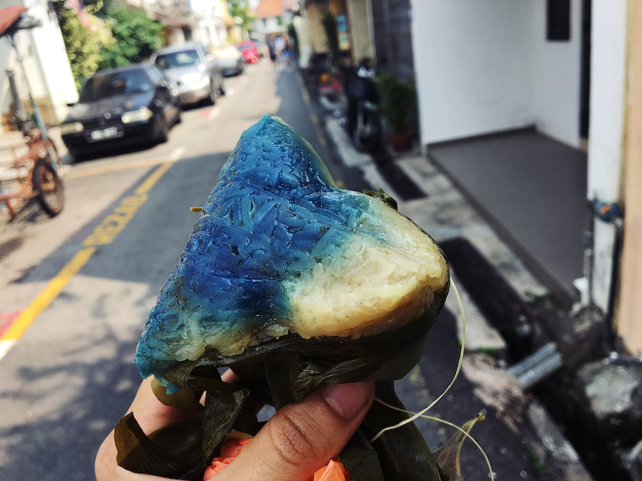 Butterfly pea zongzi from east meets west rendezvous malacca