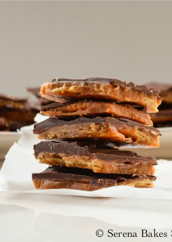 Saltine Toffee is salty crunchy and sweet. A delicious candy to make for Christmas and is easy to make with white sugar from Serena Bakes Simply From Scratch.