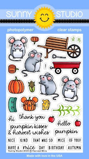 Sunny Studio Stamps Harvest Mice Punny Mouse with Wheel Barrow, Wagon & Pumpkins Fall 4x6 Clear Photopolymer Stamp Set