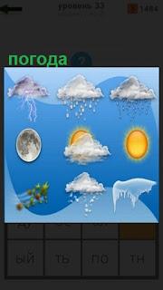 прогноз погоды в картинках, изменение на каждый день
